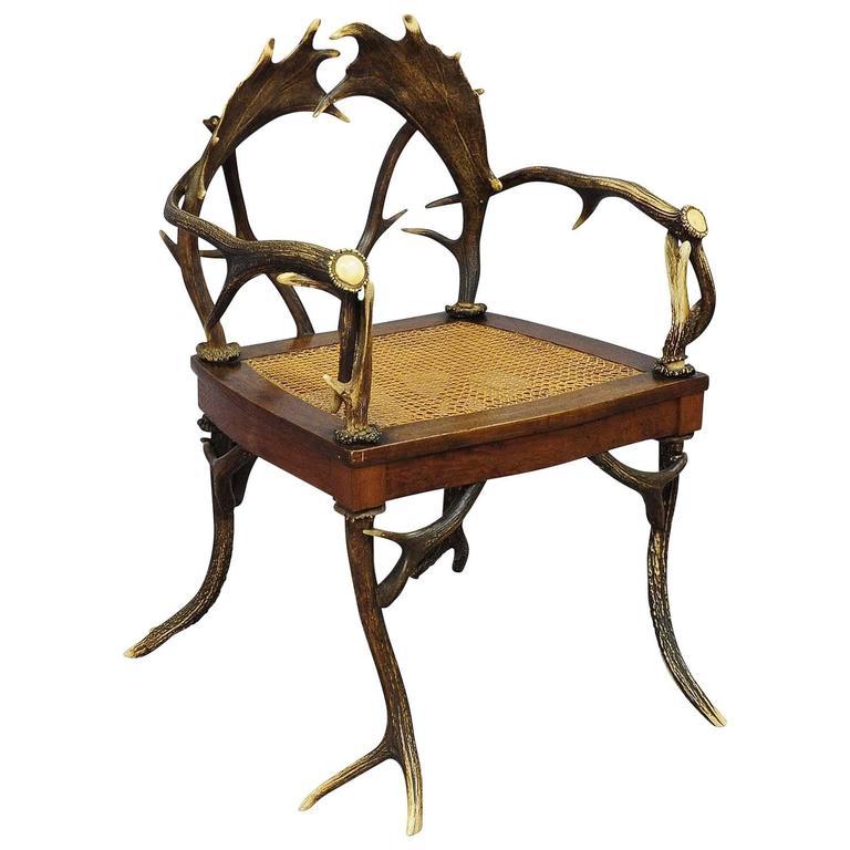 Antique Rustic Cabin Antler Armchair