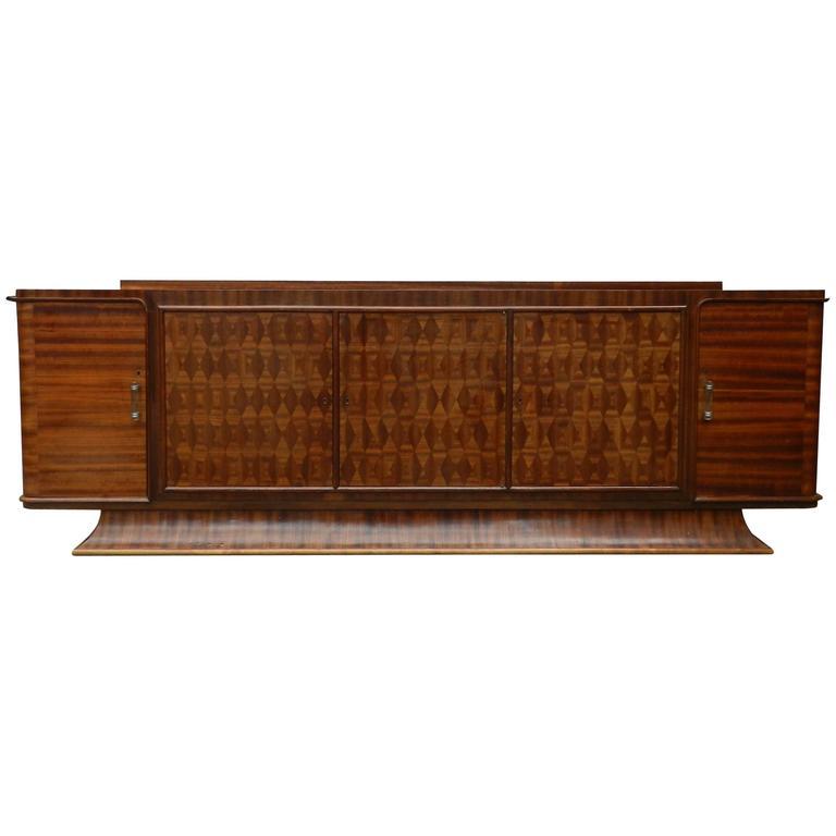 Very Large Art Deco Sideboard In Exotic Wood Veneer For Sale At 1stdibs