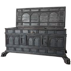 17th Century Italian Carved Cassone Trunk with Inside Carved Raised Panel