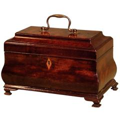 18th Century Mahogany Bombée Form Tea Caddy