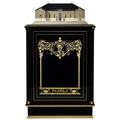 Piano Black and Gold Gilded Petrus Cabinet