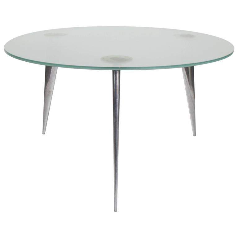 Frosted glass and cast aluminium dining table 39 m series for Frosted glass dining table