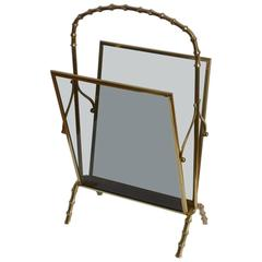 Maison Baguès Brass and Glass Faux Bamboo Magazine Rack
