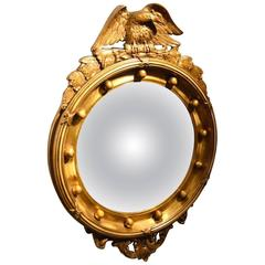 Carved Gilt-Wood and Gesso Regency Style Convex Mirror