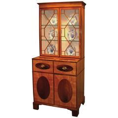 18th Century Sheraton Satinwood Secretaire Bookcase