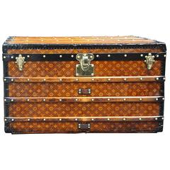 1900s Louis Vuitton Courrier Steamer Trunk in Woven Canvas,Malle Louis Vuitton