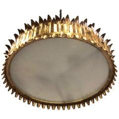 French Modern Neoclassical Gilt Iron 'Crown' or Sunburst Flush Mount or Pendant