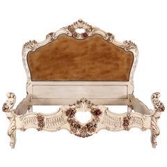 Italian Venetian Louis XV Rococo Style Carved Bed, 1930s