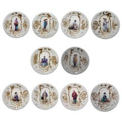 10 French Porcelain Japonaiserie Cabinet Plates Depicting Various Occupationss