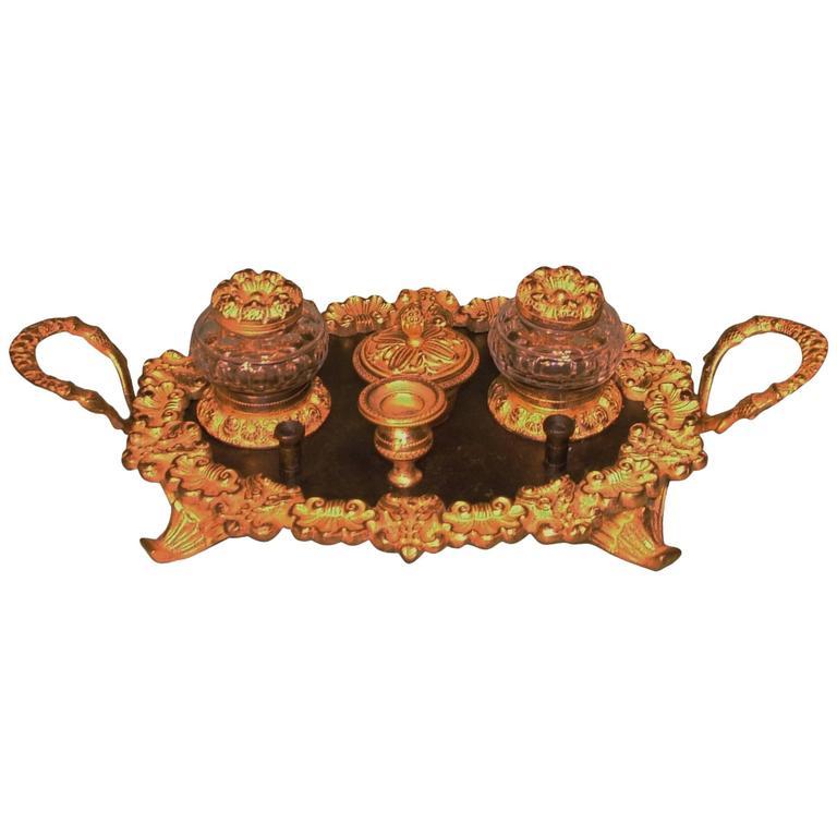 Regency Period Bronze and Ormolu Oval Pen Tray