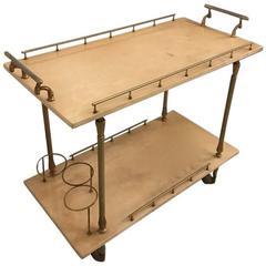Aldo Tura Brass and Parchment Bar Cart