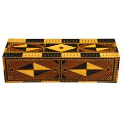 Amazing Marquetry Decorated Cribbage Board and Box
