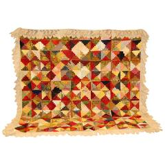 1930s American Log Cabin Pattern Cotton and Silk Quilt with Lace Trim