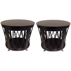 Pair of Large Ebonized Side Tables/Consoles by Maison Jansen