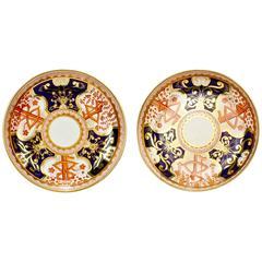 Pair of Antique Spode Imari Pattern 715 or Dollar Tree Pattern Porcelain Plates