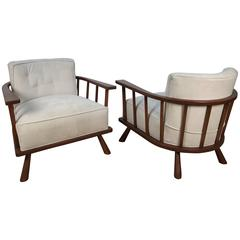Pair of Barrel Back Lounge Chairs by T.H. Robsjohn-Gibbings