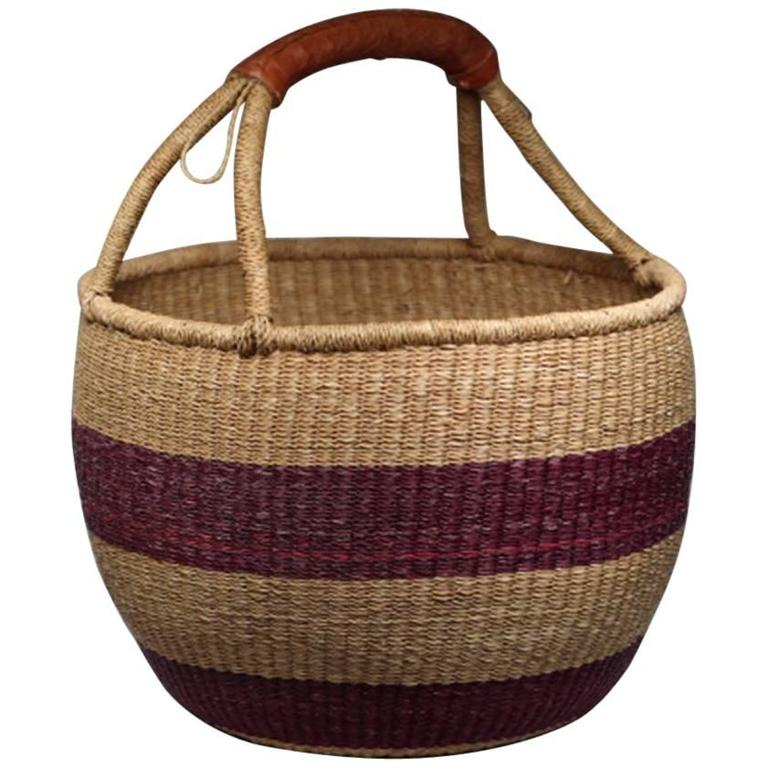 Woven Disc Basket : Native american woven basket with leather handle for sale