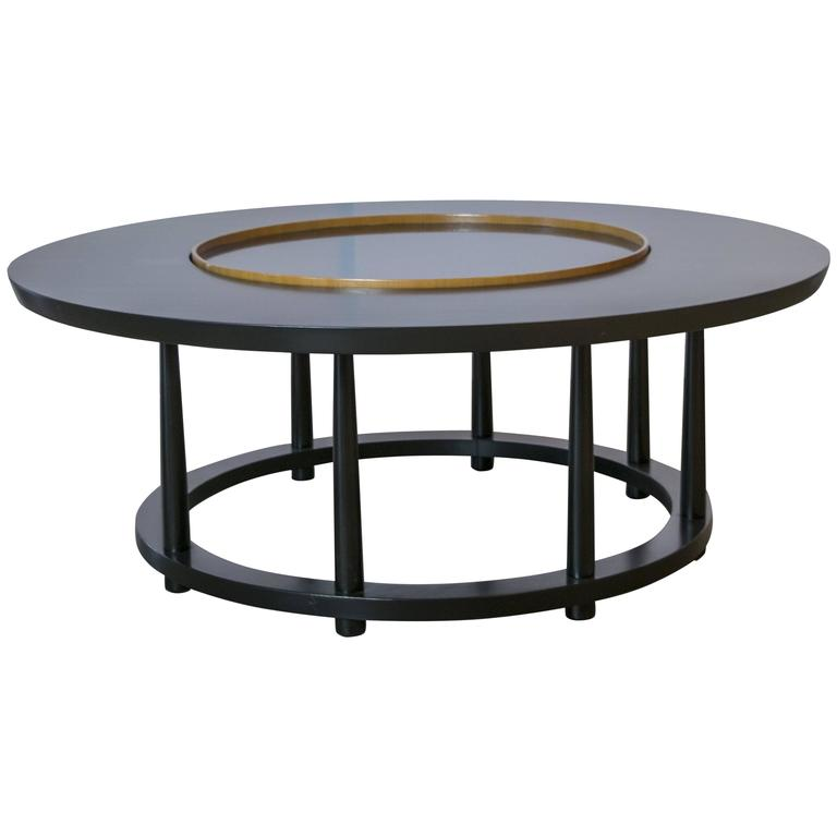 Marble Coffee Table Houston: Ebonized Table With Lazy Susan By Robsjohn-Gibbings For