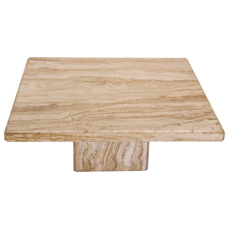 Square Coffee Table Stone: Square Italian Travertine Marble Coffee Table, 1970s At