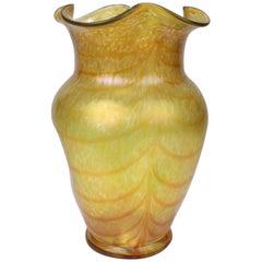 Loetz Type Art Glass Changeant 'Silberband' Vase by Otto Thamm for Fritz Heckert