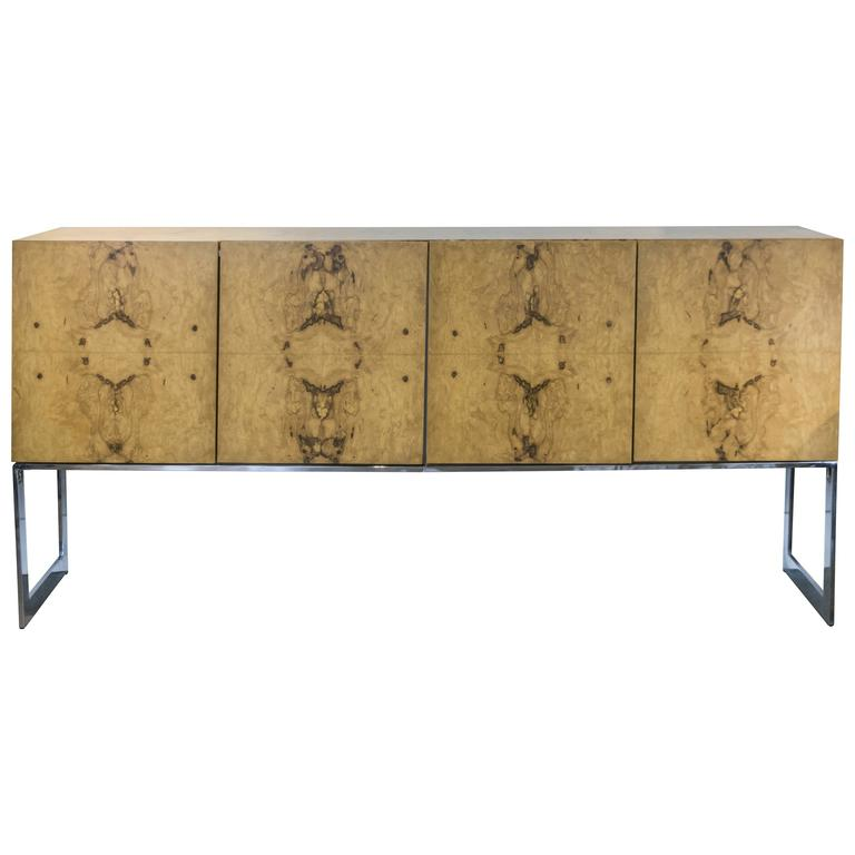 Milo Baughman for Thayer Coggin Olive Burl Wood Credenza with Chrome Base For Sale