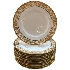 Set of 12 Gold Encrusted English Raised Gilt Service Plates