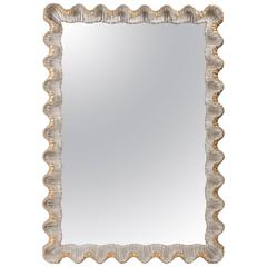 Italian Gold and Silver Scalloped Wood Mirror