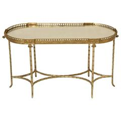 French Bronze Bamboo Style Coffee Table Attributed to Bagues