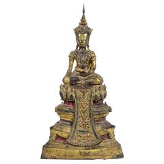 19th Century Royal Thai Gilt Bronze Statue Buddha