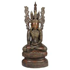 Massive 19th Century Carved and Lacquered Wooden Burmese Figure of Buddha