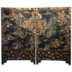 Pair of Chinese Qing Dynasty Lacquer Painted and Hardstone Inlaid Cabinets