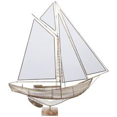 C. Jere Brass Sailboat Model with Onyx Base