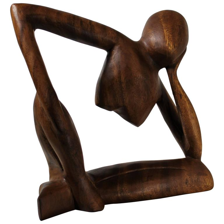 Mid-Century Modern Teak Figurative Sculpture