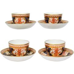 Set of Four Spode Imari Pattern 715 or Dollar Tree Pattern Tea Cups & Saucers