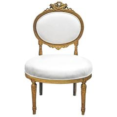 Louis XVI Style Chauffeuse with Gold Gilt