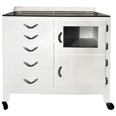 Restored 1940s Rolling Medical Cabinet, Gloss White