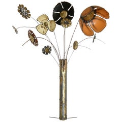 Large Scale Wall Sculpture of Enameled Flowers in a Brutalist Vase