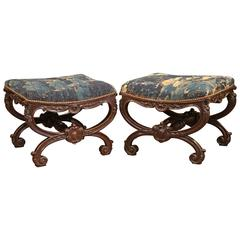 Pair of Early 19th Century French Louis XIV Carved Stools with Aubusson Tapestry