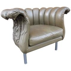Mid-Century Ruched Leather Chair
