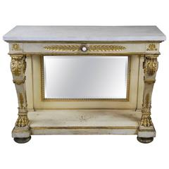 Late 19th Century French Empire Painted and Gilt Marble-Top Console Table
