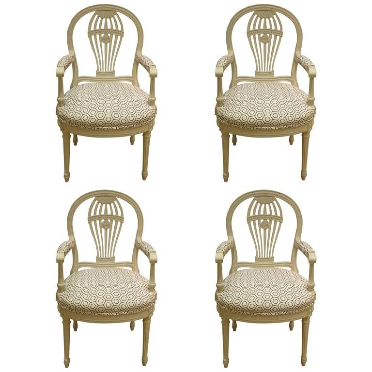 Four Decorated French Louis XV1 Style Chairs, 1930s 1