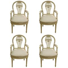 Four Decorated French Louis XV1 Style Chairs, 1930s