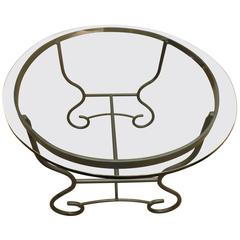 Art Nouveau French Iron and Glass Dining Table, circa 1930s