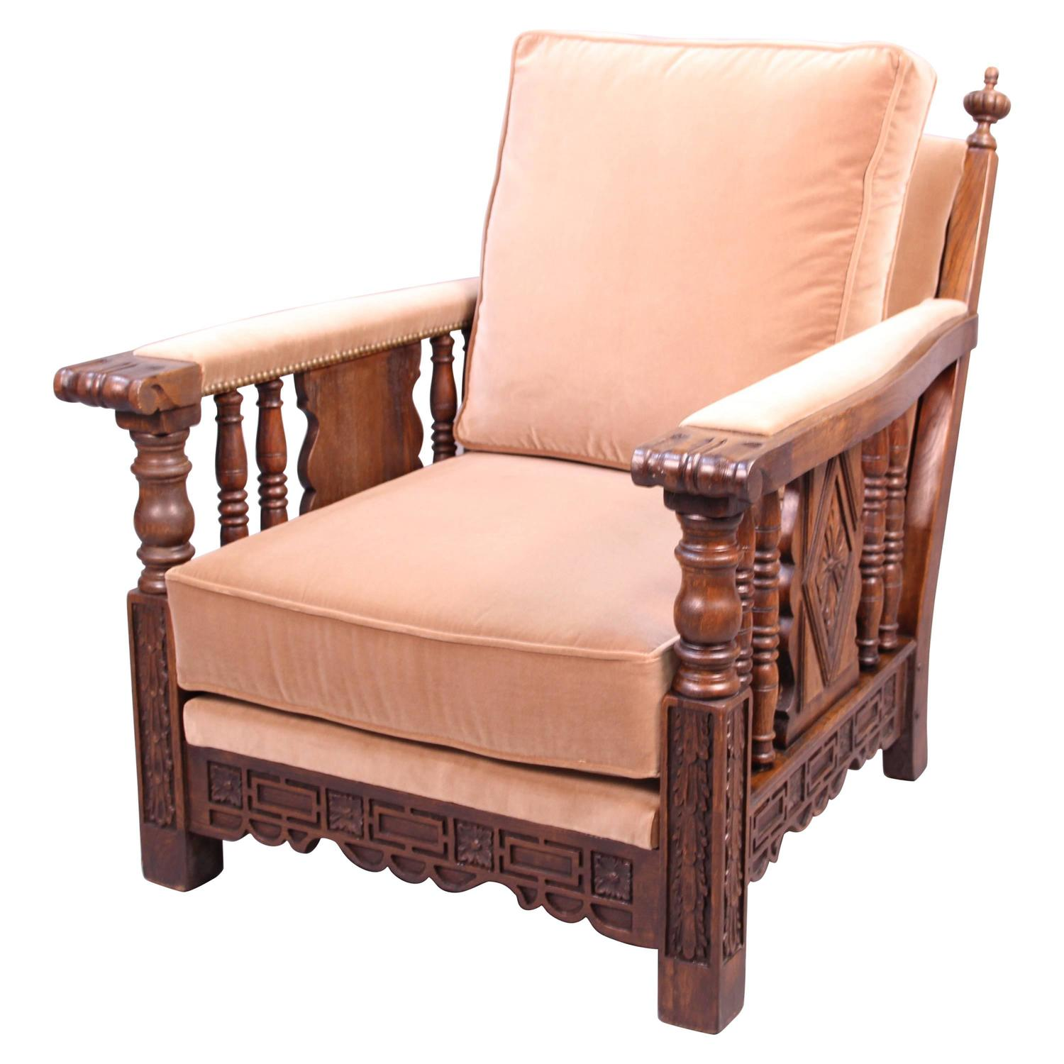 1920s Carved Club Chair with Acanthus Motif at 1stdibs