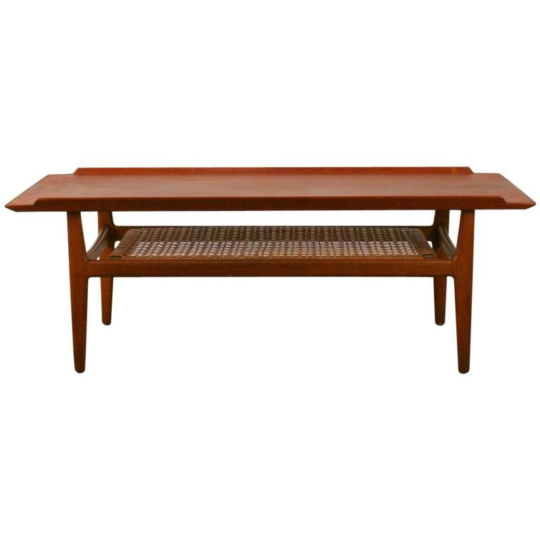 Vintage Danish Teak Coffee Table With Cane Shelf At 1stdibs