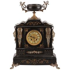 Late 19th Century Black Slate Mantle Clock by Ansonia