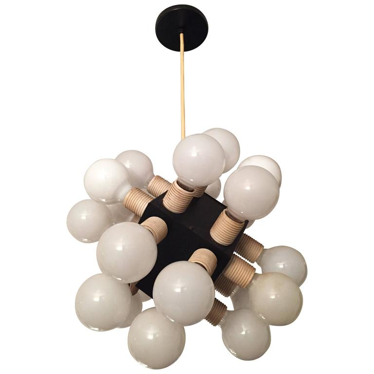 Robert Sonneman Twenty-four-bulb Cube Chandelier For Sale