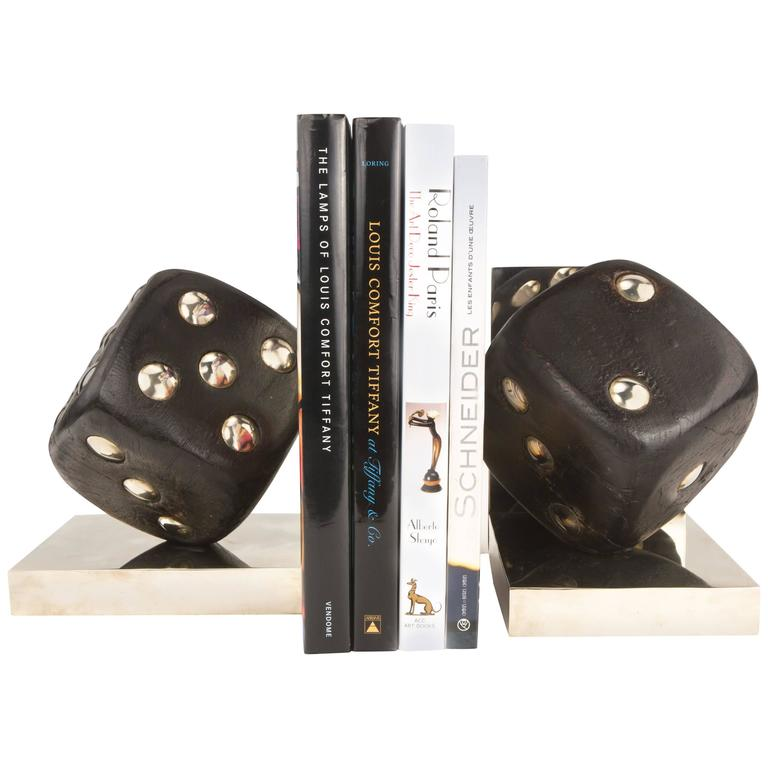"Pair of Rosewood and Inlaid Nickel ""High Roller"" Bookends"
