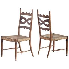 Paolo Buffa Pair of Walnut and Rush High-Back Chairs, Italy, 1940s