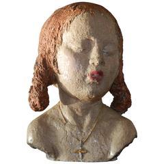 Ary Bitter Unique Piece, Enameled Terracotta Children Bust